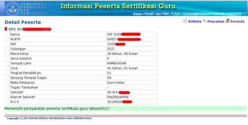 nama daftar calon sertifikasi guru 2012