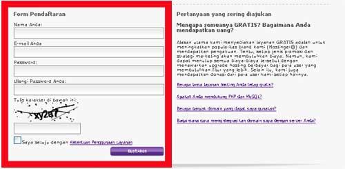 pendaftaran hosting gratis indonesia
