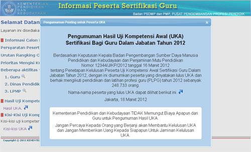 pengumuman hasil UKA sertifikasi guru 2012