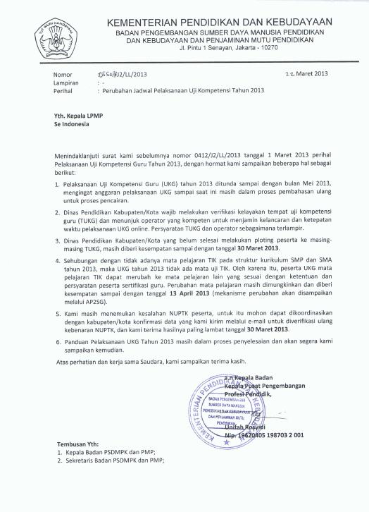 Penundaan Pelaksanaan UKA 3012